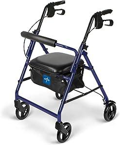 Medline Aluminum Rollator Walker with Seat, Folding Mobility Rolling Walker has 6 inch Wheels, Blue