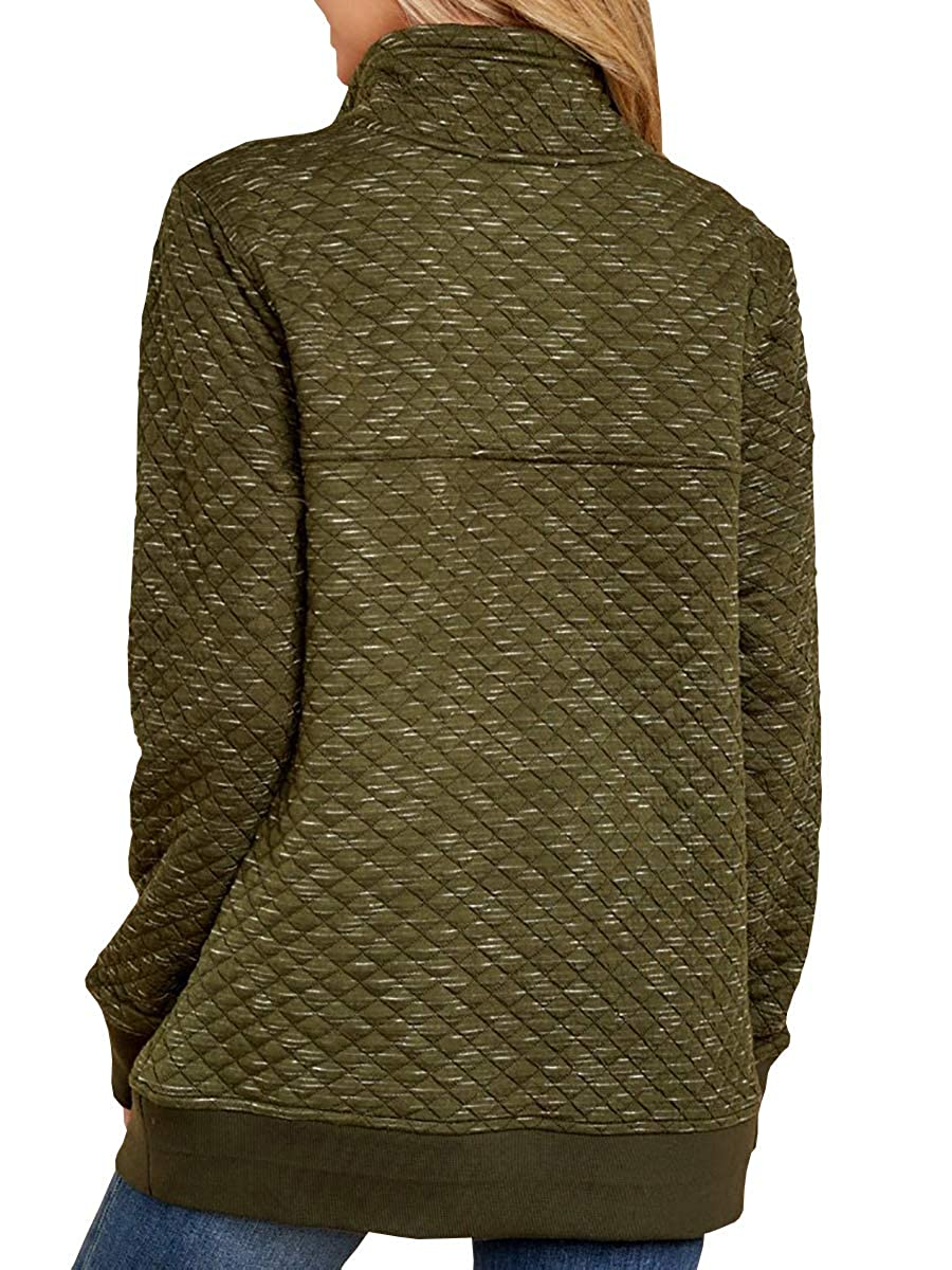 Womens Buffola Plaid Pullover Sweaters Quilted Polo Neck Long Sleeve Thermal Sweatshirts