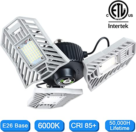 120W 12000 Lumens 192LED E26//E27 LED Garage Lights Deformable Workshop Lamp USA
