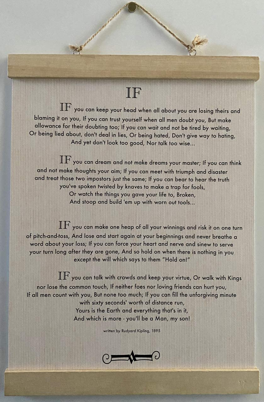 11 x 14 Wall Hanging. If Poem by Rudyard Kipling in 1895. (author of The Jungle Book) Classic Print. Linen/Papyrus Look Design. with Unfinished Wood Magnetic Frame