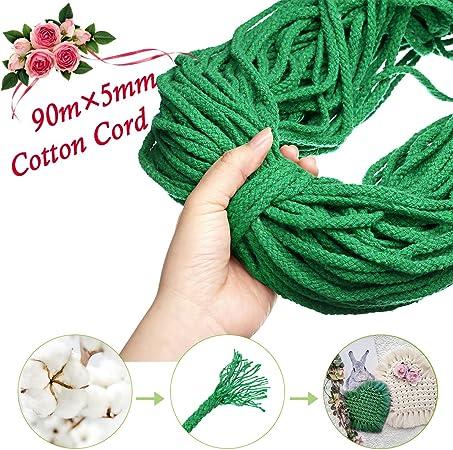GEMITTO Cuerda de Algodón Natural, 90m x 5mm Algodón Cuerda ...