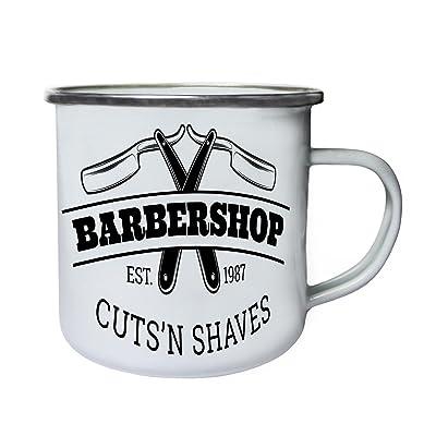 Barber Shop Logo 1987 Rétro, étain, émail tasse 10oz/280ml m653e