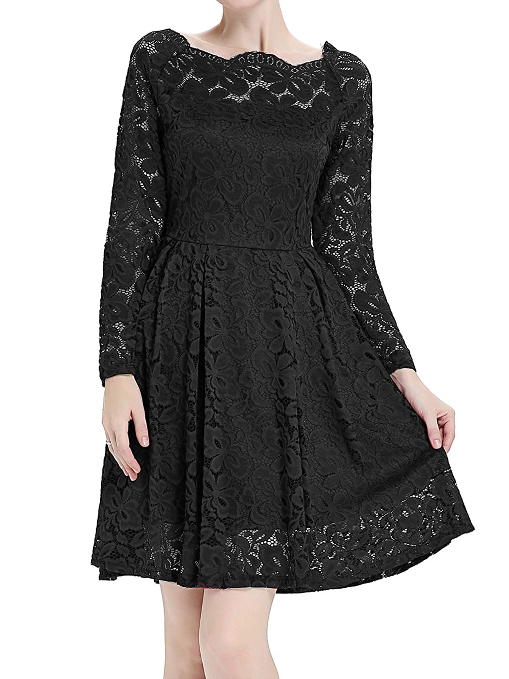 Blackb FAIRY COUPLE Women's Off the Shoulder Lace Vintage Wedding Party Cocktail Dress DL006