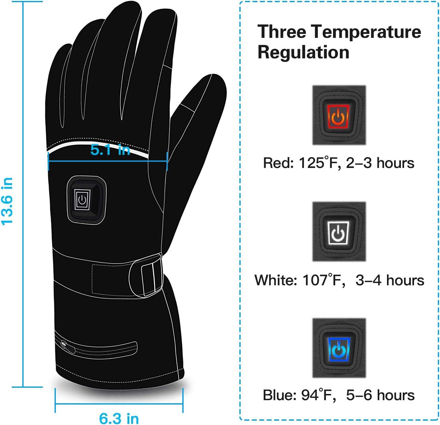 /étanches et r/églables pour /écran Tactile avec 3 temp/ératures de Chauffage diff/érentes pour Tous Les Types dactivit/és de Plein air FLIUUK Gants Chauffants pour Homme//Femme