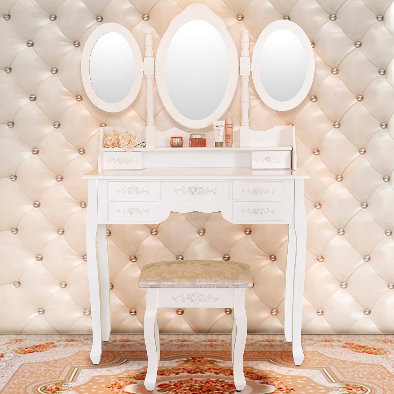 Amazon elegance vanity table set 3 folding mirror dressing amazon elegance vanity table set 3 folding mirror dressing table with padded stool 7 drawers white kitchen dining geotapseo Choice Image
