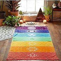CHOUREN Rainbow Stripe Bohemia Wall Hanging Blanket Tapestry Summer Beach Towel Yoga Mat,Variation:Multicolor