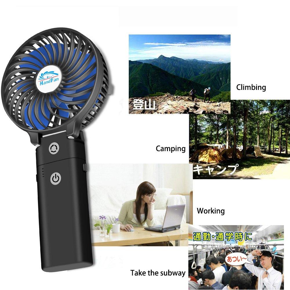 HandFan Portable Handheld Fan, Mini Hand Fan/Small Desk Fan Folding Change 5-18 Hours Working Time Personal Fan Rechargeable Battery/USB Operated Electric Fan Handle is 5200mA Power Bank(Power Black) by HandFan (Image #7)