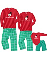 A Very Merry Family Snowman Long Sleeve Adult Pajama Set & Kids Playwear; Choose Baby or Adult