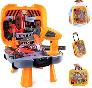 HONYAT 4 in 1 Kids Tool Set with Electric Drill, Goggles and More Tool Toys 44 Pieces Construction Workbench Tool Set Travel Case Toolset for Kids Toddler Boys and Girls