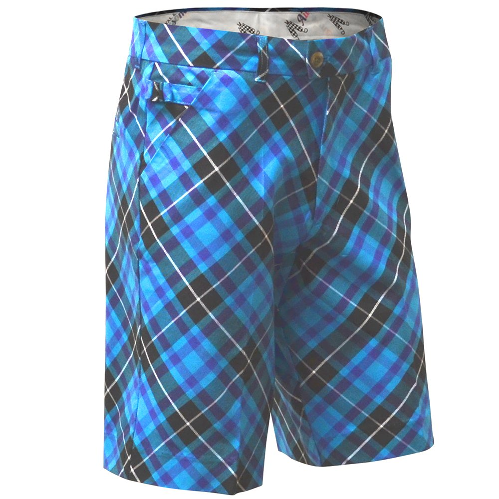 Royal & Awesome Men's Plus Size Golf Shorts, Blue Plaid Trews, 38'' Waist-96 cm by Royal & Awesome
