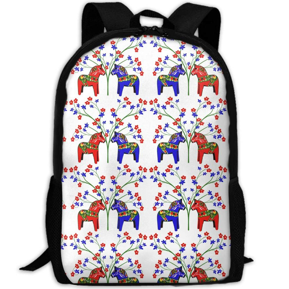 Floral Swedish Dala Horses School Backpack - Unisex Student Stylish Laptop Book Bag Daypack For Teen Boys And Girls