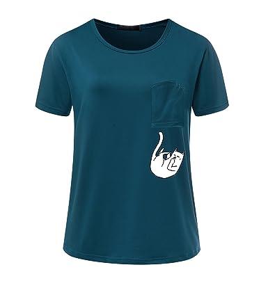 ISSHE Oversize T Shirt Damen Sommer Lockere Print Rundhals T Shirts Kurzarm Frauen  T-Shirt Oberteil Sommershirt Tops für Damen Schöne Katze Printshirt ... dfaaf14aeb