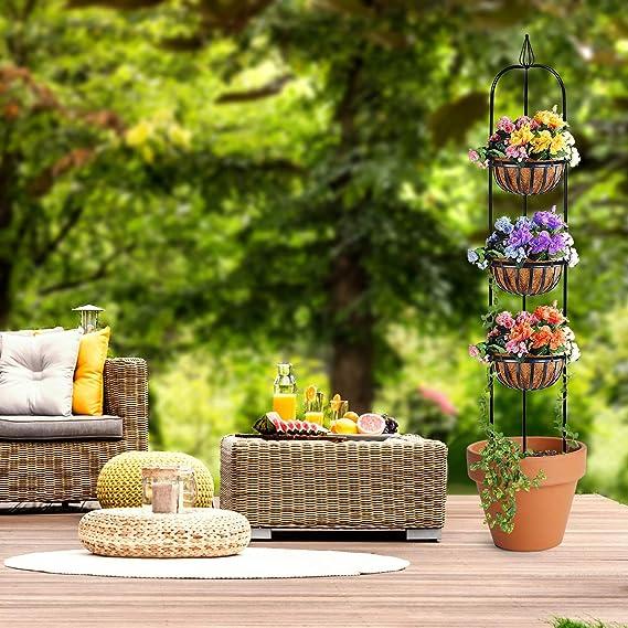 Sorbus® Enrejado de jardín Redondo Obelisk para Plantas trepadoras ...