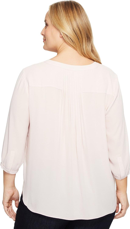 NYDJ Womens Plus Size 3//4 Sleeve Henley Pleat Back Blouse