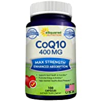 CoQ10 (400mg Max Strength, 100 Veggie Capsules) - High Absorption Coenzyme Q10 Ubiquinone...