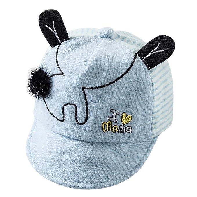 Lonshell Bebé Sombreros y gorras, Bebé Niños Niñas Sombrero de béisbol de Orejas, Raya