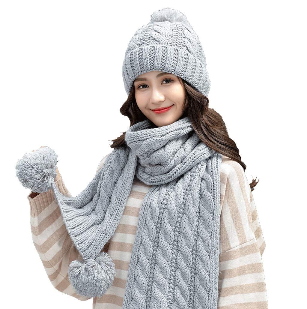 F Hat Female Casual Wild Scarf TwoPiece Knit Warm Plus Velvet (color   F)