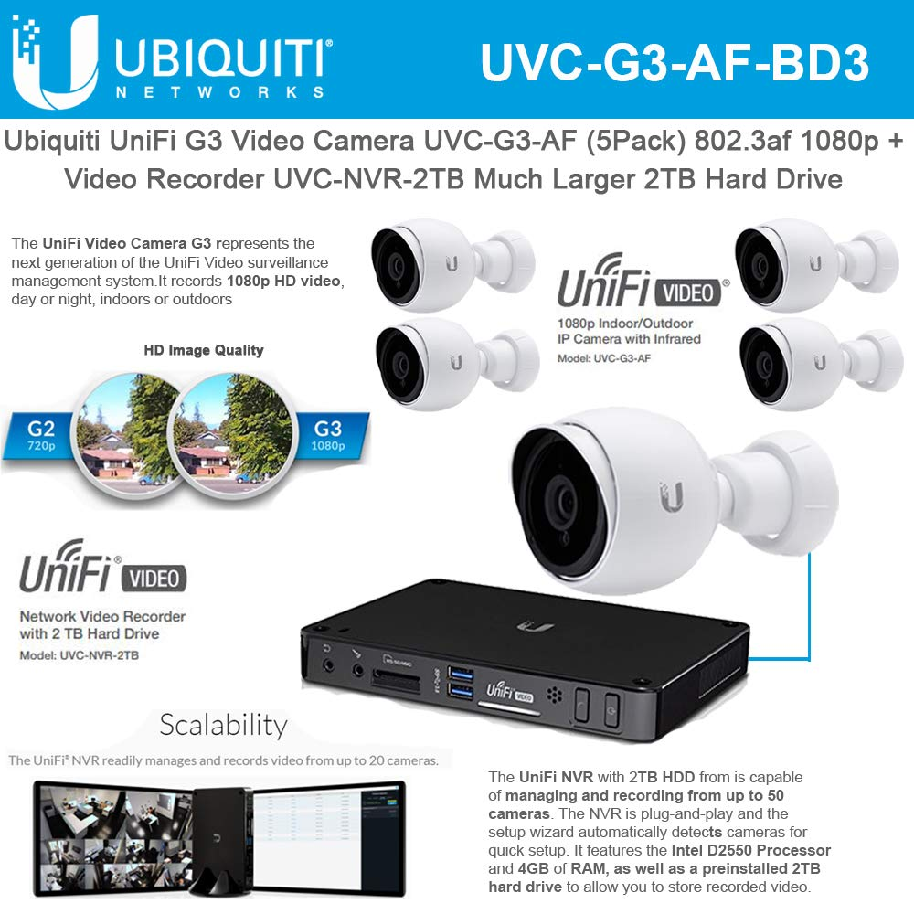 UniFi G3 Video Camera UVC-G3-AF (5 Pack) 802.3af 1080p with Unifi G3 Network Video Recorder UVC-NVR-2TB Much Larger 2TB Hard Drive by UBNT Systems