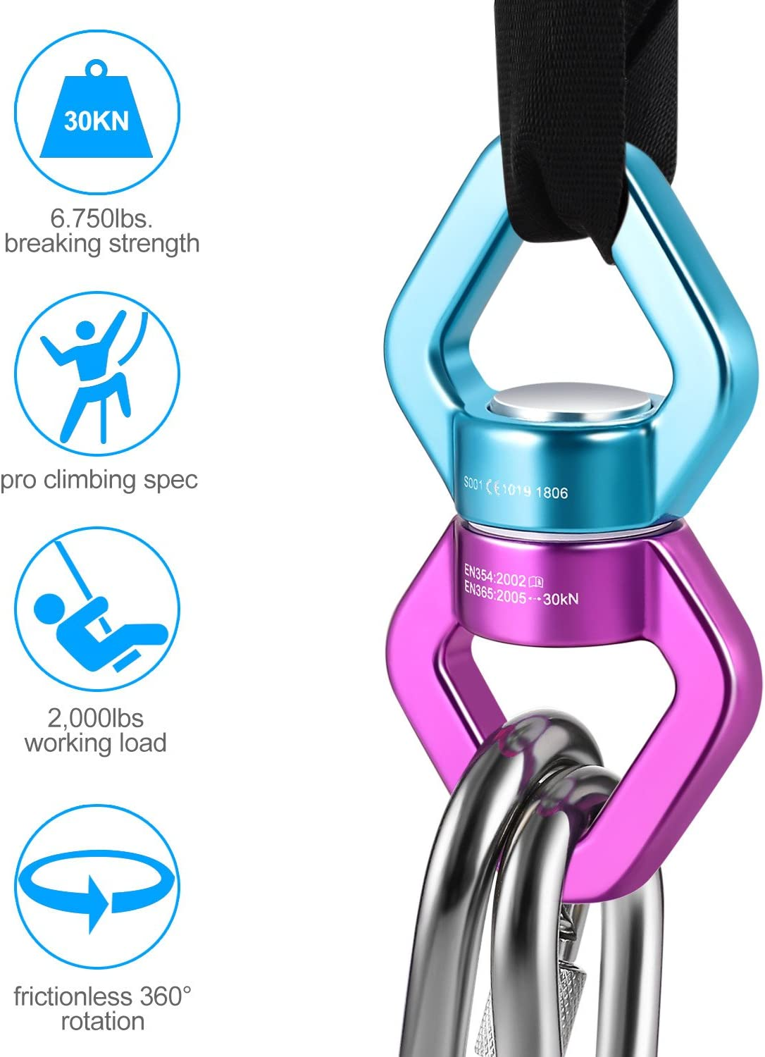 30KN Swing Swivel with 2 Carabiners,360 Degree Free Noiseless Rotation Hanging
