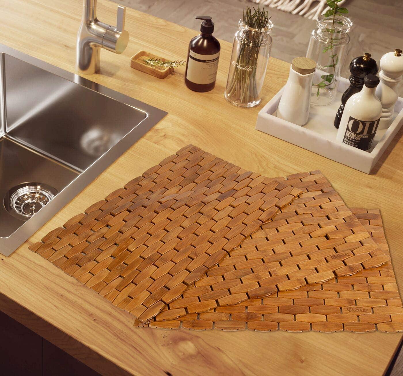 HANKEY Lot de 4 Sets de Table en Bambou pour Salle /à Manger Couleur Naturelle Isolation Thermique hexagonale d/écoration de Table