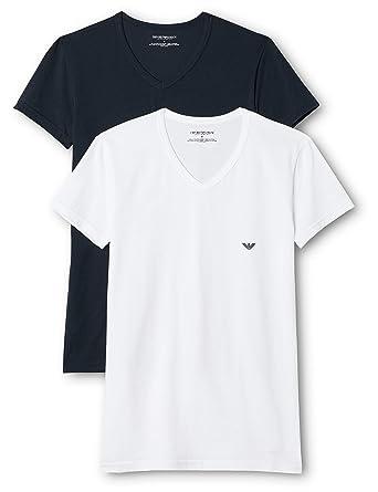 5dc389156bd Emporio Armani CC717-111512 - T-shirt - Uni - Manches courtes - Homme (lot  de 2)  Amazon.fr  Vêtements et accessoires