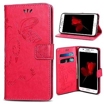Supporter Flip PU Cuir Pochette Portefeuille Housse Coque Etui pour Samsung Galaxy J5 2016 avec Crédit Carte Tenant Fente Rose Galaxy J5 2016 Coque Dooki