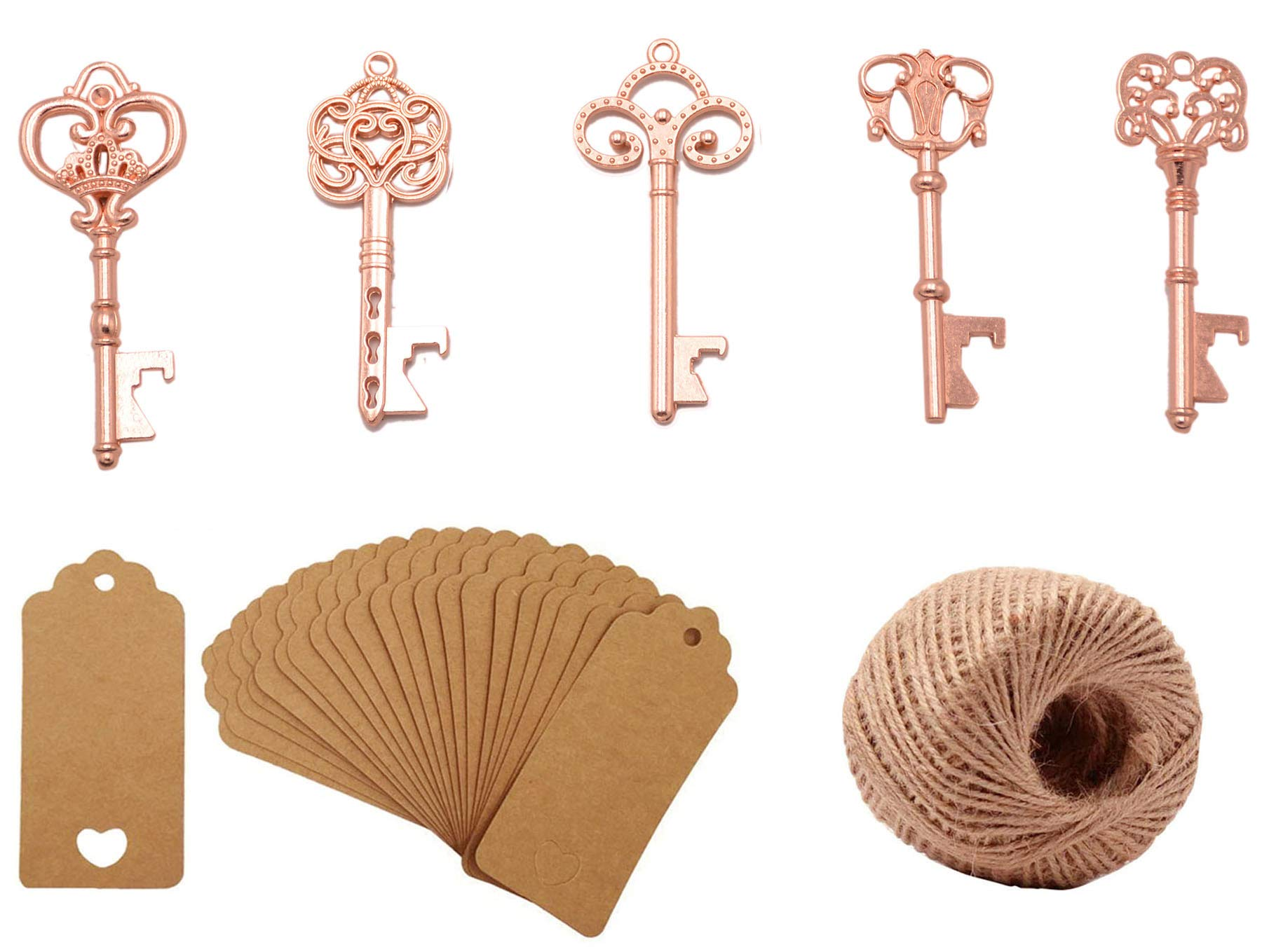 Yansanido Pack of 100 Skeleton Key Bottle Opener with Escort Tag Card and Twine for Wedding Favors for Guests Party Favors (100pcs mixed 5 styles Rose Gold)