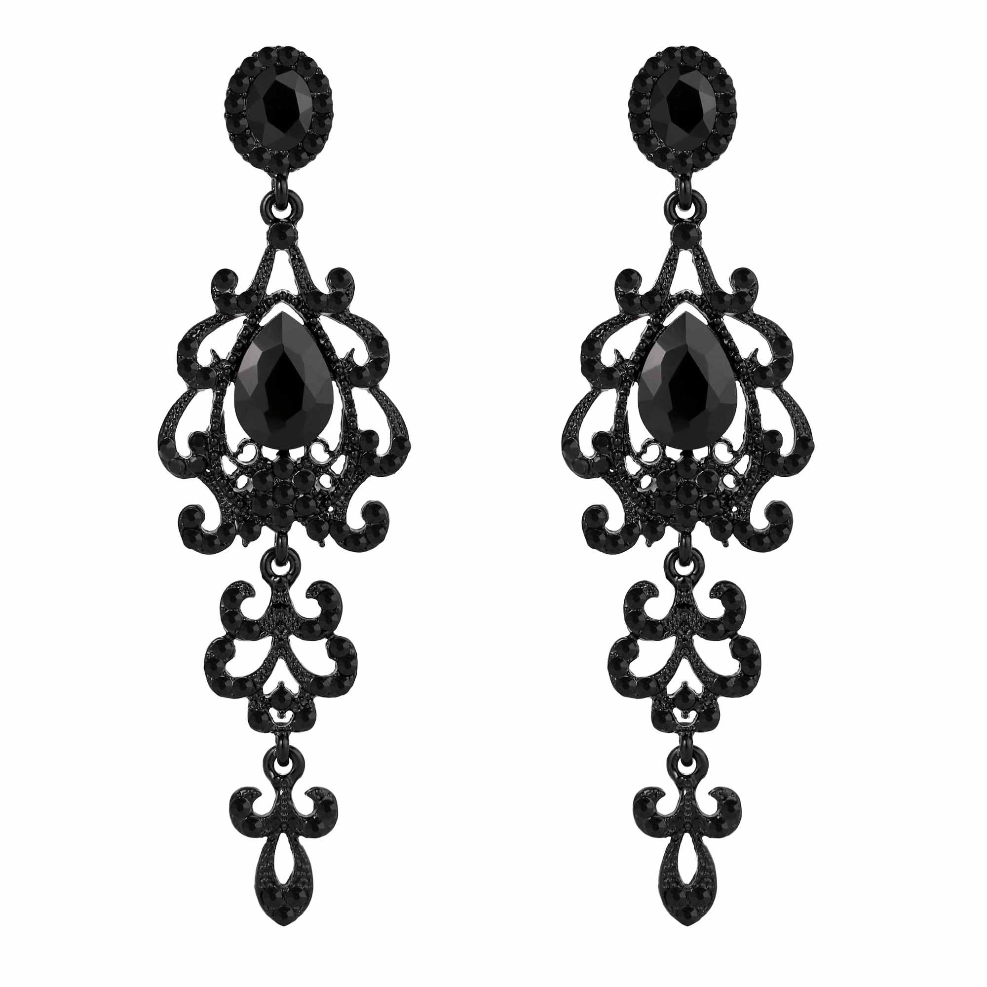 BriLove Women's Wedding Bridal Dangle Earrings with Victorian Style Crystal Teardrop Chandelier Black Black-Silver-Tone