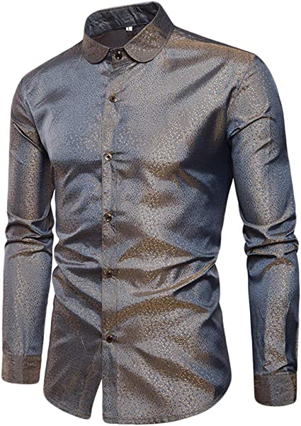 WanYangg Camisa Mangas Largas Hombres Shirt Solapa Camisas De Vestir Color Sólido Fancy Slim Fit Point Lentejuelas Brillante Fiesta Club Nocturno Casual Tops para Juventud: Amazon.es: Ropa y accesorios