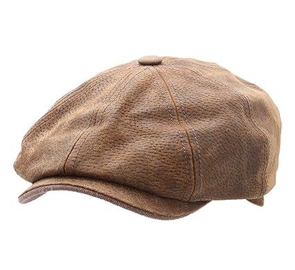e33528be864cc Stetson - Flat Cap Leather Men Burney  Amazon.co.uk  Clothing