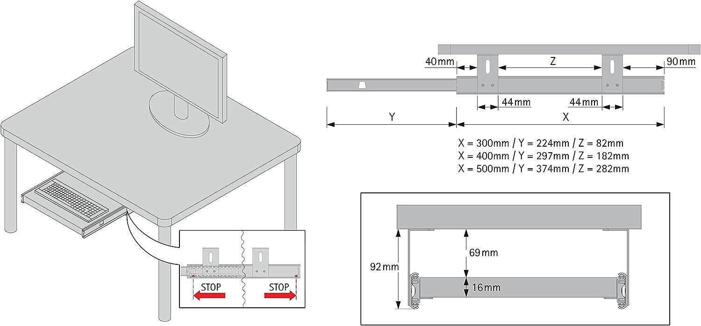 estraibili per tastiera mouse e laptop FIX/&EASY Guide scorrevoli con ripiano 800X400mm texture dekoro calcestruzzo per porta-tastiera cassetto staffa per binario scorrevole nero 400mm