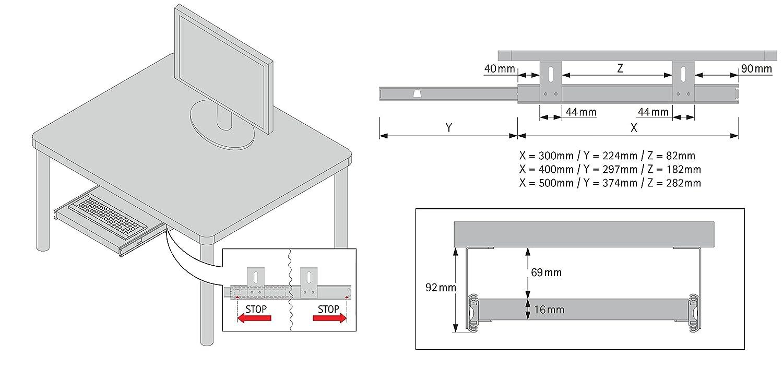 Auszugschienen schwarz 400mm Set Ablage mit Auszug f/ür Tastatur Maus Keyboard Laptop FIX/&EASY Tastaturauszug mit Tastaurablage 600X400mm Wenge braun Dekor