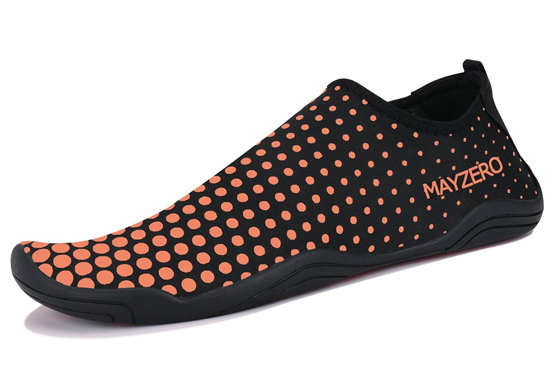 WXDZ Men Women Water Sports Shoes Quick Dry Barefoot Aqua Socks Swim Shoes for Pool Beach Walking Running (12USWomen/11USMen, Dot-Orange)