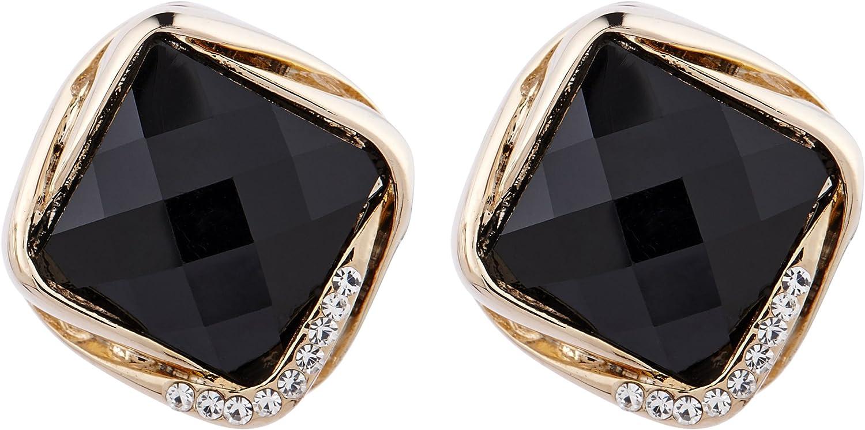 Pendientes de clip - oro plateado de metal con cristales y piedra resina negro - Betty B por Bello London