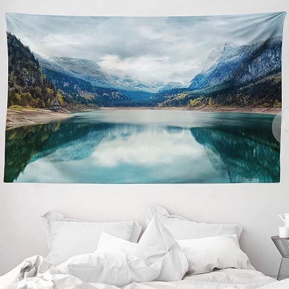 Image ofABAKUHAUS Paisaje Tapiz de Pared y Cubrecama Suave, Lago Alpino con Cielo Dreamático Bosque y Montañas Viaje Fantástico Arte, Objeto Decorativo Lavable, 230 x 140 cm, Green
