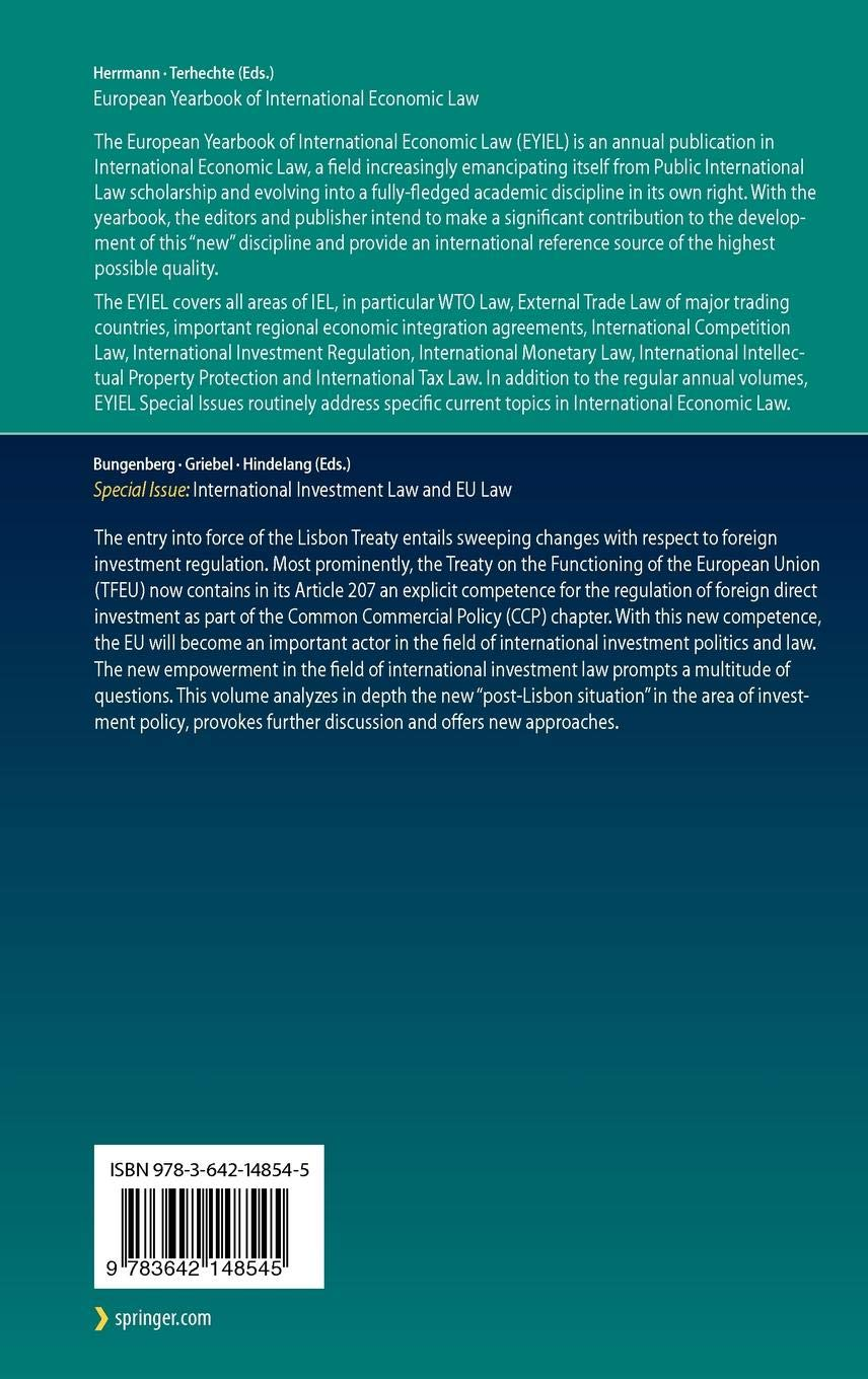 International Investment Law and EU Law (European Yearbook of International Economic Law)