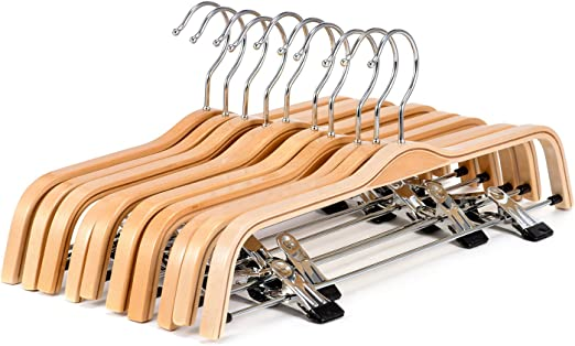 10-Pack Natural Finish Wooden Clothes Hangers Anti-rust Hook 2-Adjustable Clips