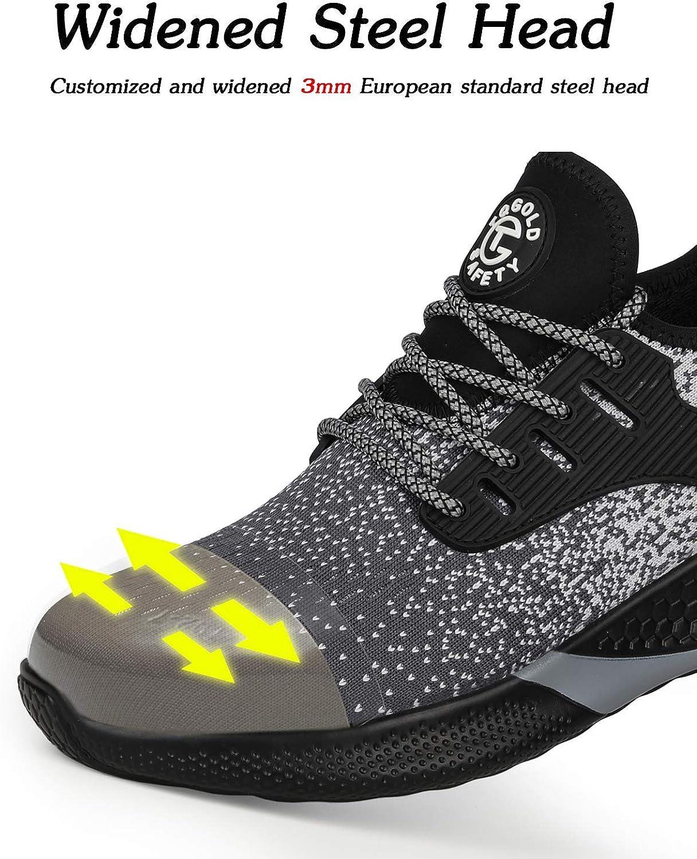 tqgold Sicherheitsschuhe Herren Damen S3 Sportlich rutschfeste Arbeitsschuhe mit Stahlkappe Leichtgewich Breathable Schuhe