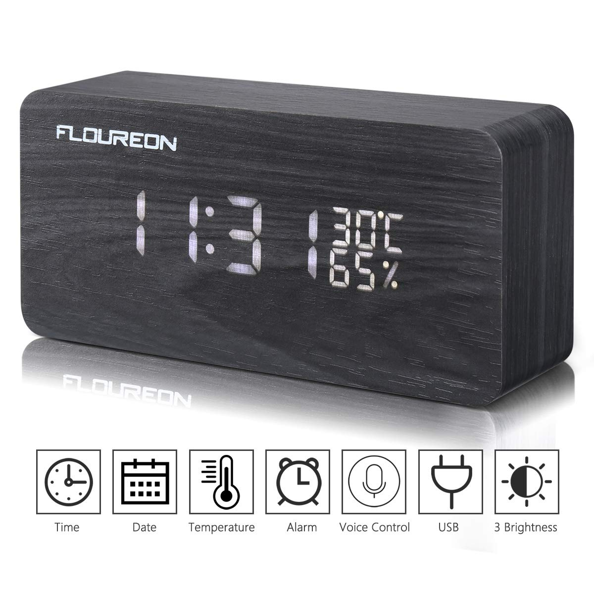 FLOUREON Wooden Alarm Clock LED Desk bedside Digital Clock Calendar/Time/Temperature/Humidity Displaying with 3 Brightness Adjustable and 3 Set of Alarm, Dual Power, Voice Control (Black)