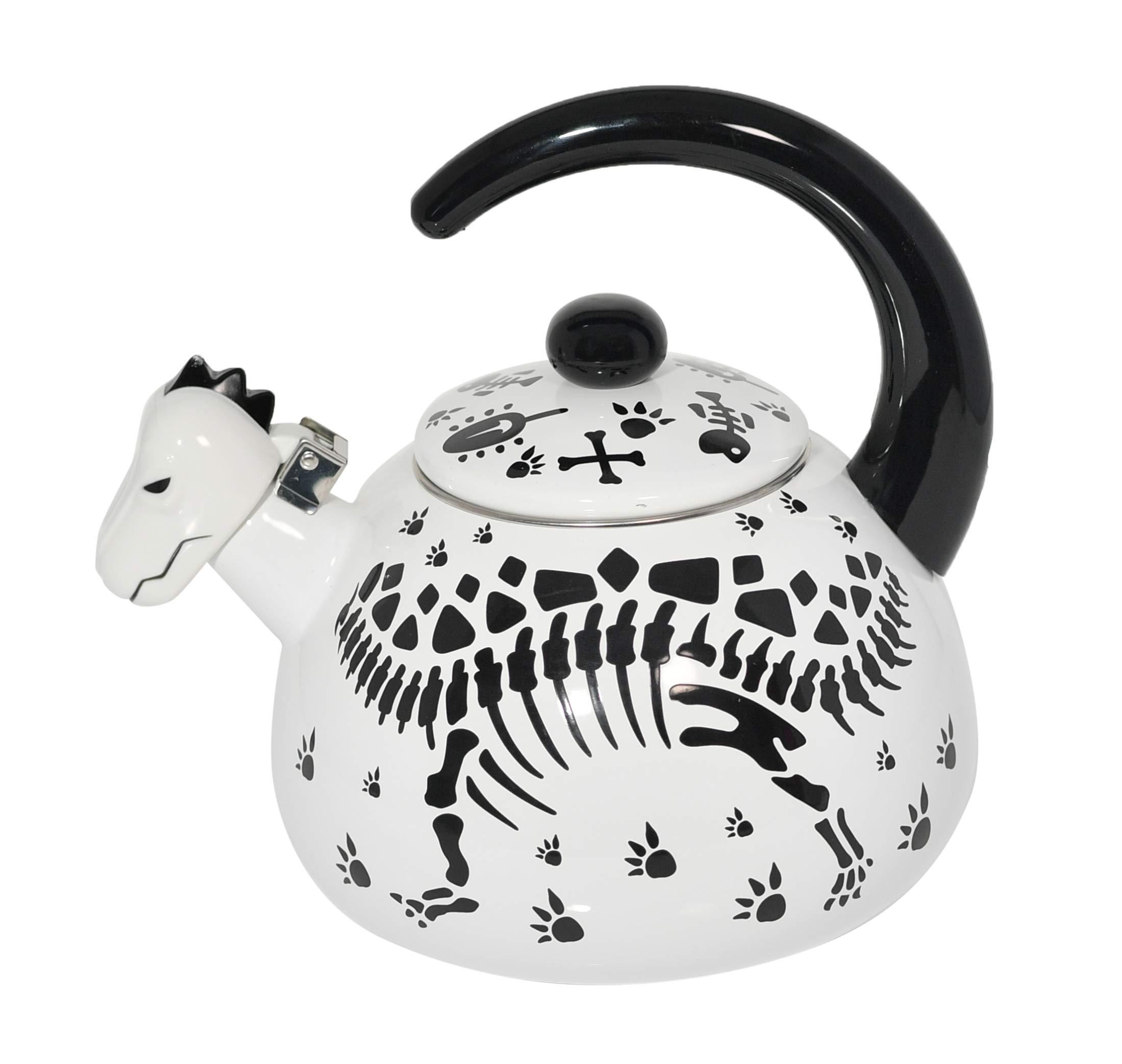 HOME-X Stegosaurius Dinosaur Whistling Tea Kettle, Cute Animal Teapot, Kitchen Accessories and Decor