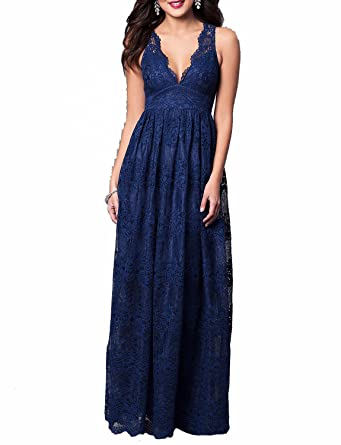 Monalia Womens Long V-Neck Lace Prom Dresses 2018 Formal Evening Gowns Size 2 Navy