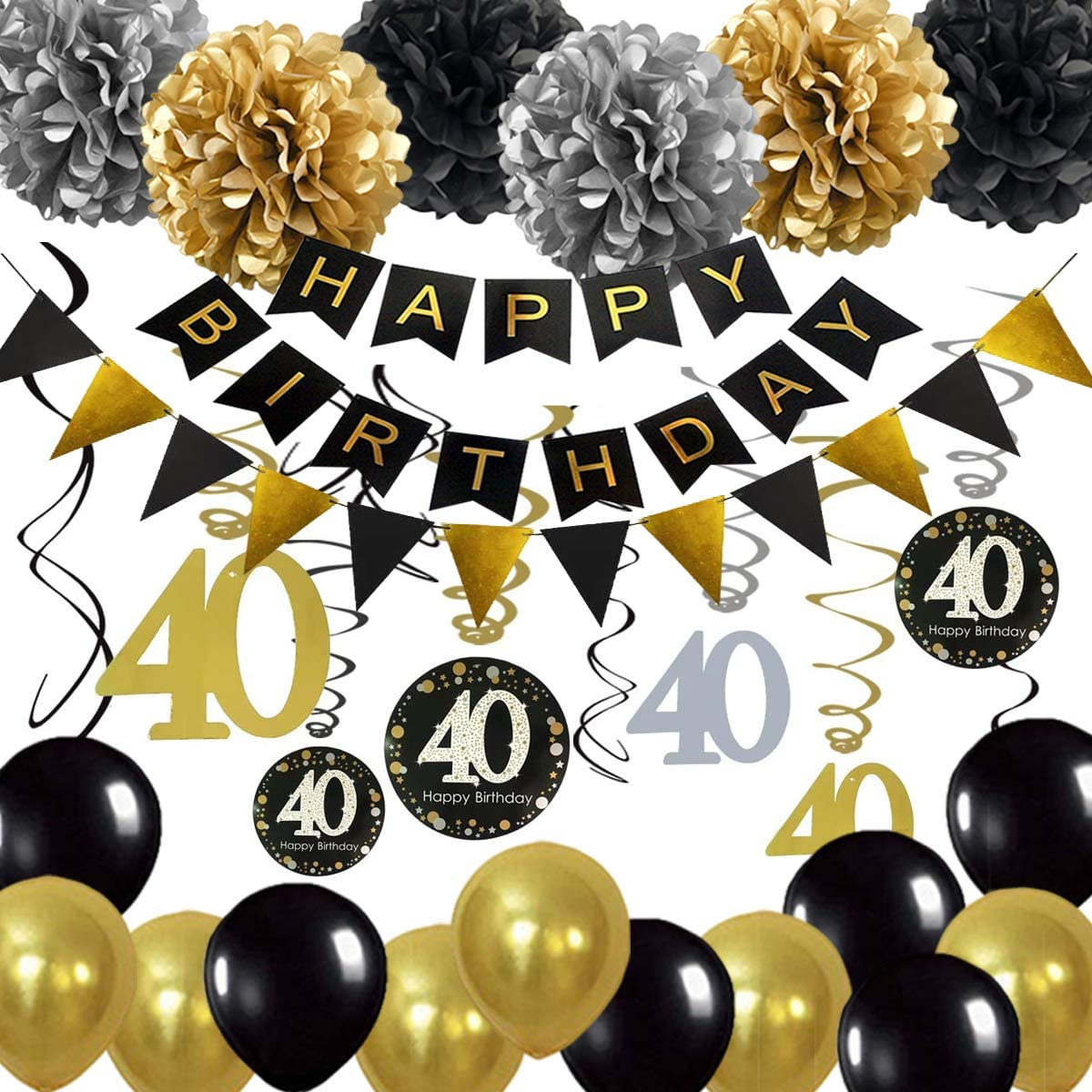 40th Birthday Decoration, 40 Hanging Swirl, Happy Birthday Banner, Balloons for 40 Years Old Birthday Party Supplies Decoration