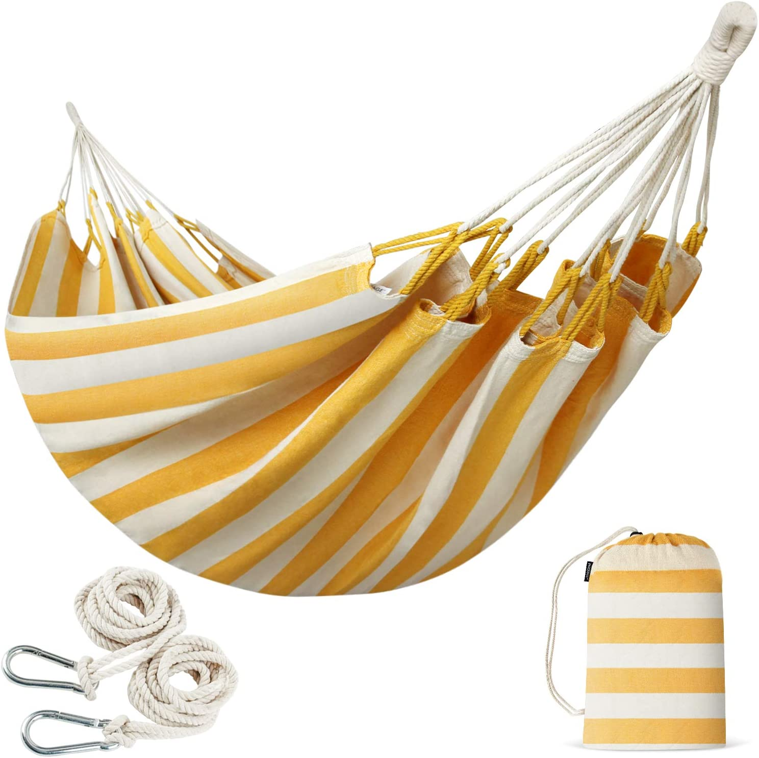 INNO STAGE Brazilian Double Hammocks - Woven Hammock Two Person Hanging Camping Bed for Patio, Backyard, Porch, Outdoor and Indoor Use - Soft Cotton Hammock with Portable Carrying Bag