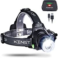 Kingtop Waterproof USB Rechargeable LED Zoomable Head Light Torch Lamp with Internal Lithium Battery