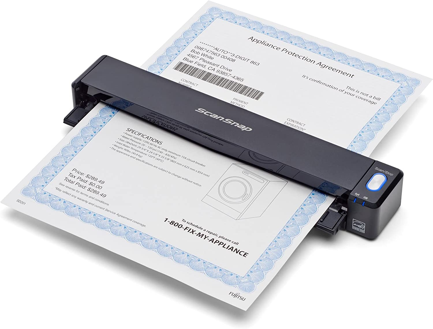 Fujitsu PA03688-B005 ScanSnap iX100 Wireless Mobile Scanner for Mac and PC,Black