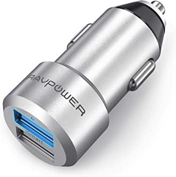 RAVPOWER Mini Cargador de Coche 24W 4.8A Dual USB, Adaptador Automóvil con Tecnología Ismart, Funda de Material de Aluminio, Compatible con iPad