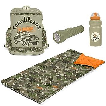 CCS camuflaje saco de dormir Set con linterna, botella de agua, mochila para niños. Camuflaje Duffle dormir Combo - Litera aventura en una bolsa.