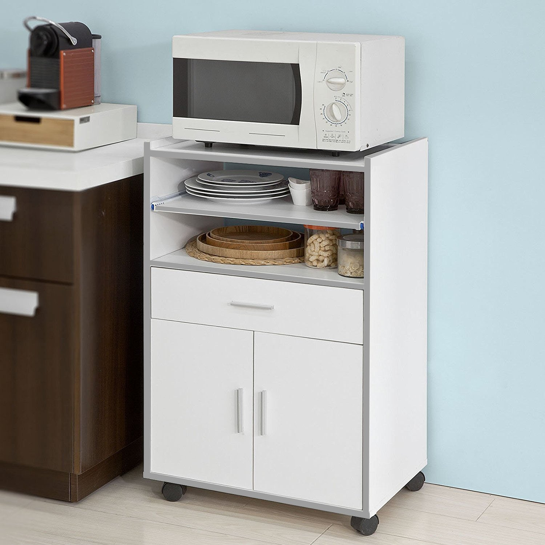Aparador auxiliar bajo de cocina para microondas,con 2 puertas y 1 ...