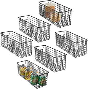 """mDesign Narrow Farmhouse Decor Metal Wire Food Storage Organizer Bin Basket with Handles for Kitchen Cabinets, Pantry, Bathroom, Laundry Room, Closets, Garage - 16"""" x 6"""" x 6"""" - 6 Pack - Matte Black"""