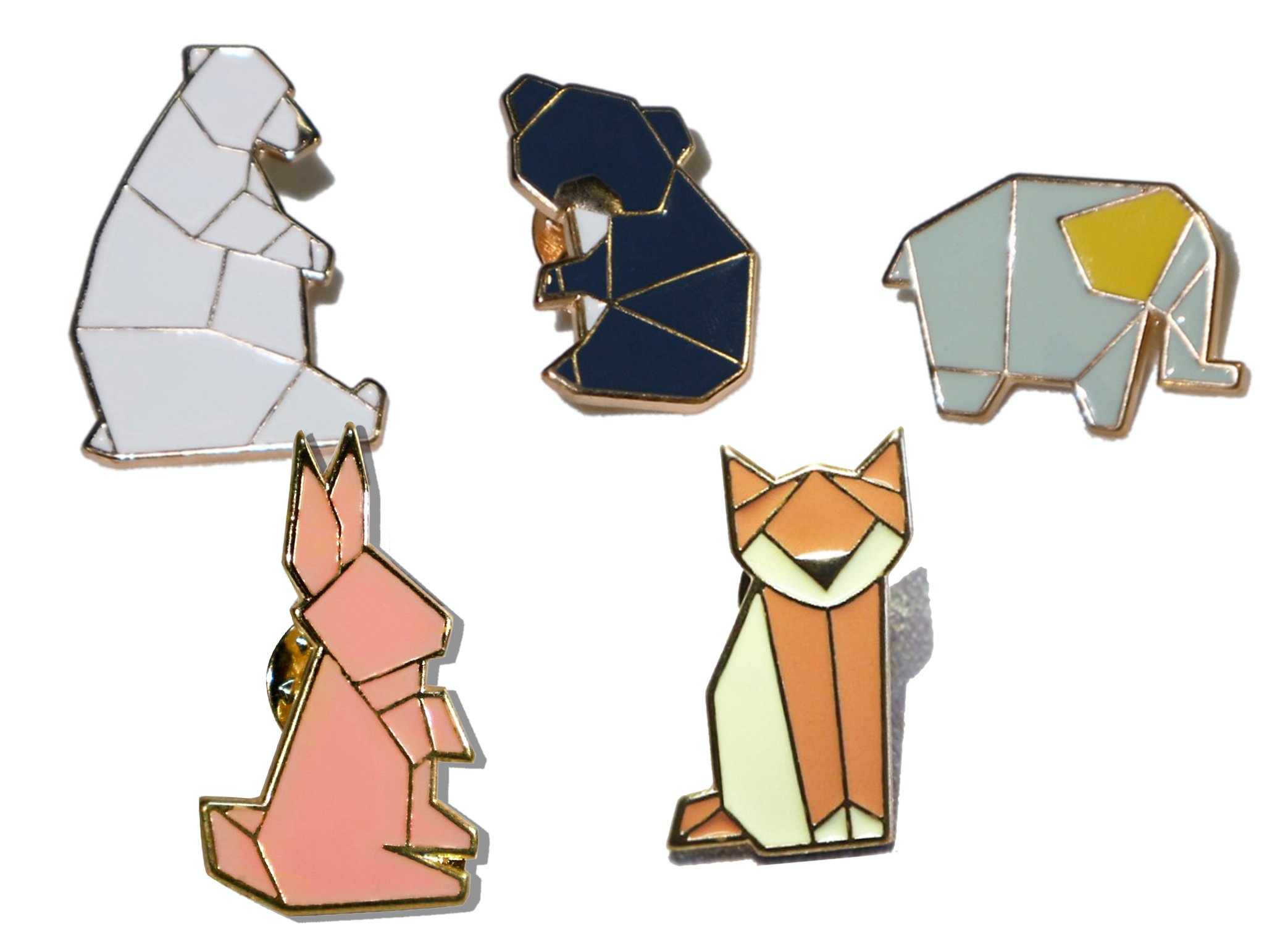 Liveinu Fashion Geometric Cartoon Animals Enamel Brooches Pins Set Cute Brooches Pins for Clothes Bags Brooches for Wedding Lapel Pins